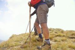 Конец-вверх ног молодых hikers идя на путь страны Молодой просыпать следа пар Фокус на пеших ботинках Стоковая Фотография