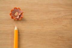 Конец-вверх оранжевого карандаша цвета с брить карандаша Стоковое фото RF