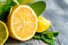 Конец-вверх отрезанного лимона Ингридиенты Mojito Стоковое фото RF
