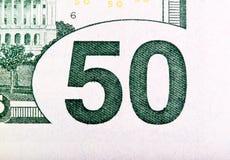 Конец-вверх долларовой банкноты 50 Стоковые Фото