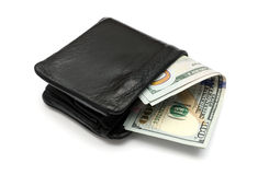 Конец-вверх долларов США в кожаном бумажнике Стоковое Изображение RF
