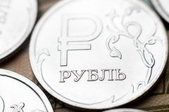 Конец-вверх одной монетки русского рубля Стоковое фото RF