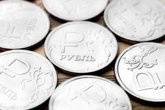 Конец-вверх одной монетки русского рубля Стоковая Фотография