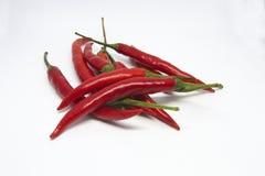 Конец-вверх перцев chili на белой предпосылке стоковое изображение