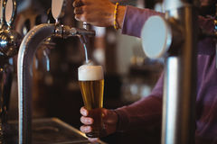 Конец-вверх пива бара нежного заполняя от насоса бара Стоковые Изображения
