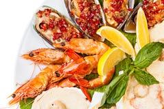 Конец-вверх плиты салата морепродуктов Стоковое Изображение