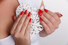 Конец-вверх покрашенных длинных поддельных ногтей Стоковое Изображение RF