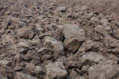 Конец-вверх почвы Вспаханное поле Стоковые Изображения