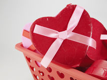 Конец-Вверх подарочной коробки сердца форменной Стоковые Фото