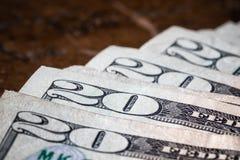 Конец вверх по двадцатидоллоровой банкноте денег макроса американской стоковое изображение rf