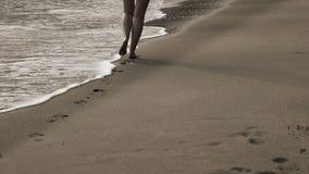 Конец вверх по женским ногам идет в прокладку прибоя моря на песочном тропическом пляже рано утром видеоматериал