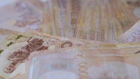 Конец вверх по тайской предпосылке крупного плана банкнот денег, деньгам для дела, монеткам Таиланда 1000 батт задачи стоковые изображения