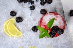 Конец-вверх продуктов ягоды на белой предпосылке Зрелые blueberies и отрезанный лимон Smoothie ягоды с льдом и вареньем Стоковое Изображение RF