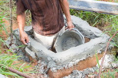 Конец-вверх работы каменщика процесса конструкции Стоковое Изображение
