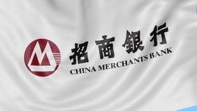 Конец вверх развевая флага с логотипом банка купцев Китая, безшовной петлей, голубой предпосылкой Редакционная анимация 4K ProRes иллюстрация вектора