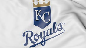 Конец-вверх развевая флага с логотипом бейсбольной команды Royals MLB Kansas City, переводом 3D иллюстрация вектора