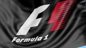 Конец-вверх развевая флага с логотипом Формула-1, безшовной петлей, голубой предпосылкой Редакционная анимация 4K иллюстрация штока