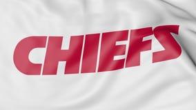 Конец-вверх развевая флага с логотипом футбольной команды NFL вождей Kansas City американским, переводом 3D иллюстрация вектора