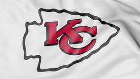 Конец-вверх развевая флага с логотипом футбольной команды NFL вождей Kansas City американским, переводом 3D Стоковые Изображения