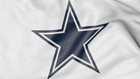 Конец-вверх развевая флага с логотипом футбольной команды NFL ковбоев Далласа американским, переводом 3D иллюстрация штока