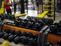 Конец-вверх различных строк гантелей на стойке на предпосылке спортзала Оборудование для тренировки Здоровый уклад жизни Стоковые Фото