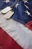 Конец-вверх регистрационного номера собаки на американском флаге Стоковое Фото