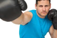 Конец-вверх решительно мужского боксера сфокусировал на тренировке Стоковое Изображение RF