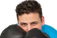 Конец-вверх решительно мужского боксера сфокусировал на тренировке Стоковая Фотография
