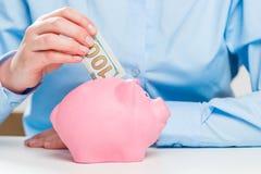 Конец-вверх розовой копилки и денег 100 долларов Стоковое Изображение RF