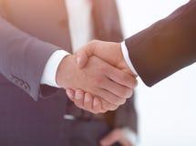 Конец вверх руки встряхивания делового партнера 2 детенышей мужской Стоковые Фото