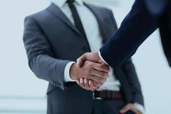 Конец вверх руки встряхивания делового партнера 2 детенышей мужской Стоковая Фотография