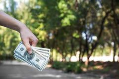 Конец-вверх руки с американскими долларами Укомплектуйте личным составом держать бумажные деньги на запачканной естественной пред Стоковое Фото