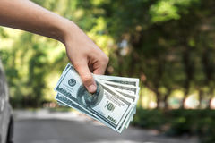 Конец-вверх руки с американскими долларами Укомплектуйте личным составом держать бумажные деньги на запачканной естественной пред Стоковые Изображения
