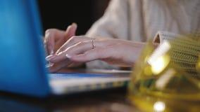 Конец-вверх рук инженера женщины работая для ноутбука Крупный план рук женщины печатая на клавиатуре акции видеоматериалы
