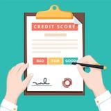 Конец-вверх рук персоны с кредитным рейтингом и ручкой доски сзажимом для бумаги Данные по кредитного рейтинга концепции личные иллюстрация штока