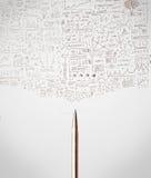 Конец-вверх ручки с схематичными диаграммами Стоковое Изображение RF
