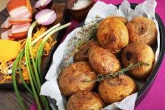 Конец-вверх свеже испеченных всех картошек Стоковая Фотография
