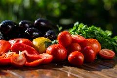 Конец-вверх свежих, зрелых томатов, баклажана, сладостного красного перца и Стоковая Фотография