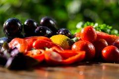 Конец-вверх свежих, зрелых томатов, баклажана, сладостного красного перца и Стоковые Фото