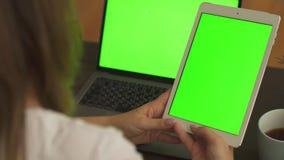 Конец-вверх снятый женских рук печатая на планшете с зеленым экраном Женщина используя ноутбук с зеленым дисплеем на рабочем мест сток-видео