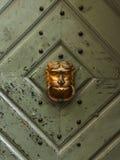 Конец-вверх старой деревянной двери с львом Стоковые Фотографии RF