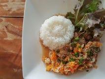 Конец-вверх, тайский стиль еды: & x22; Пусковая площадка Thai& x22 бочки Moo Kaow; fied свинина, яичко Стоковые Фотографии RF
