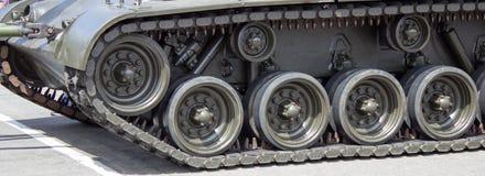 Конец-вверх танка с колесом, гусеницей американский бак Стоковое Фото