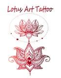 Конец-вверх татуировки лотоса искусства иллюстрация вектора