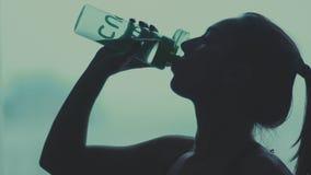 Конец-вверх темного профиля питьевой воды женщины Slowmotion акции видеоматериалы