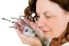 Конец-вверх усмехаясь цветков зрелой женщины пахнуть Стоковое фото RF
