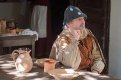 Конец-вверх участника средневековая партия костюма Стоковое Изображение