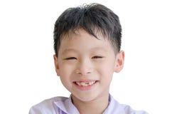 Конец-вверх улыбки счастливого мальчика беззубый Стоковая Фотография