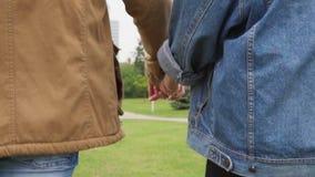 Конец-вверх человека и женщины держа руки и идя в парк города акции видеоматериалы