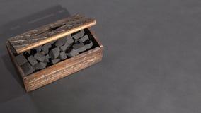 Конец-вверх черного угля в коробке Рука раскрывает коробку с отжатым углем акции видеоматериалы